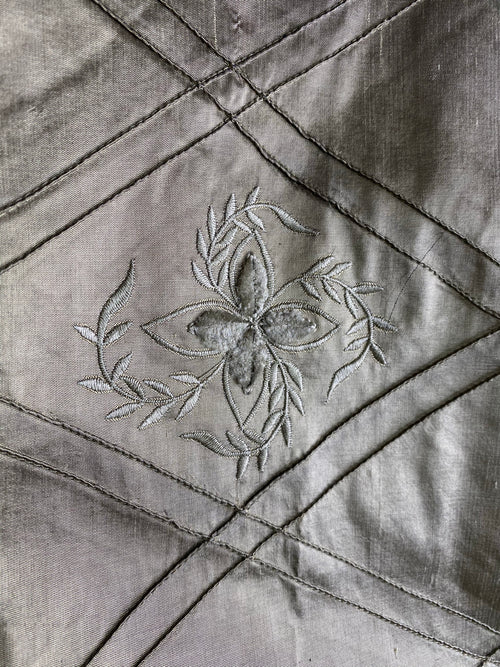 NEW! SALE! 100% Silk Dupioni Diamond Fabric - Velvet Floral Embroidered Grey Silver