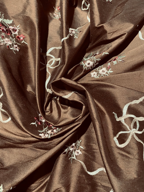 NEW! Princess Amelia Designer 100% Silk Dupioni Fabric - Brown Floral Bouquet with Bows