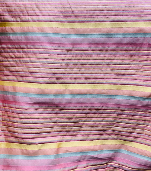 NEW Lady Miley Designer Striped Satin Decorating & Upholstery Fabric- Pink Yellow