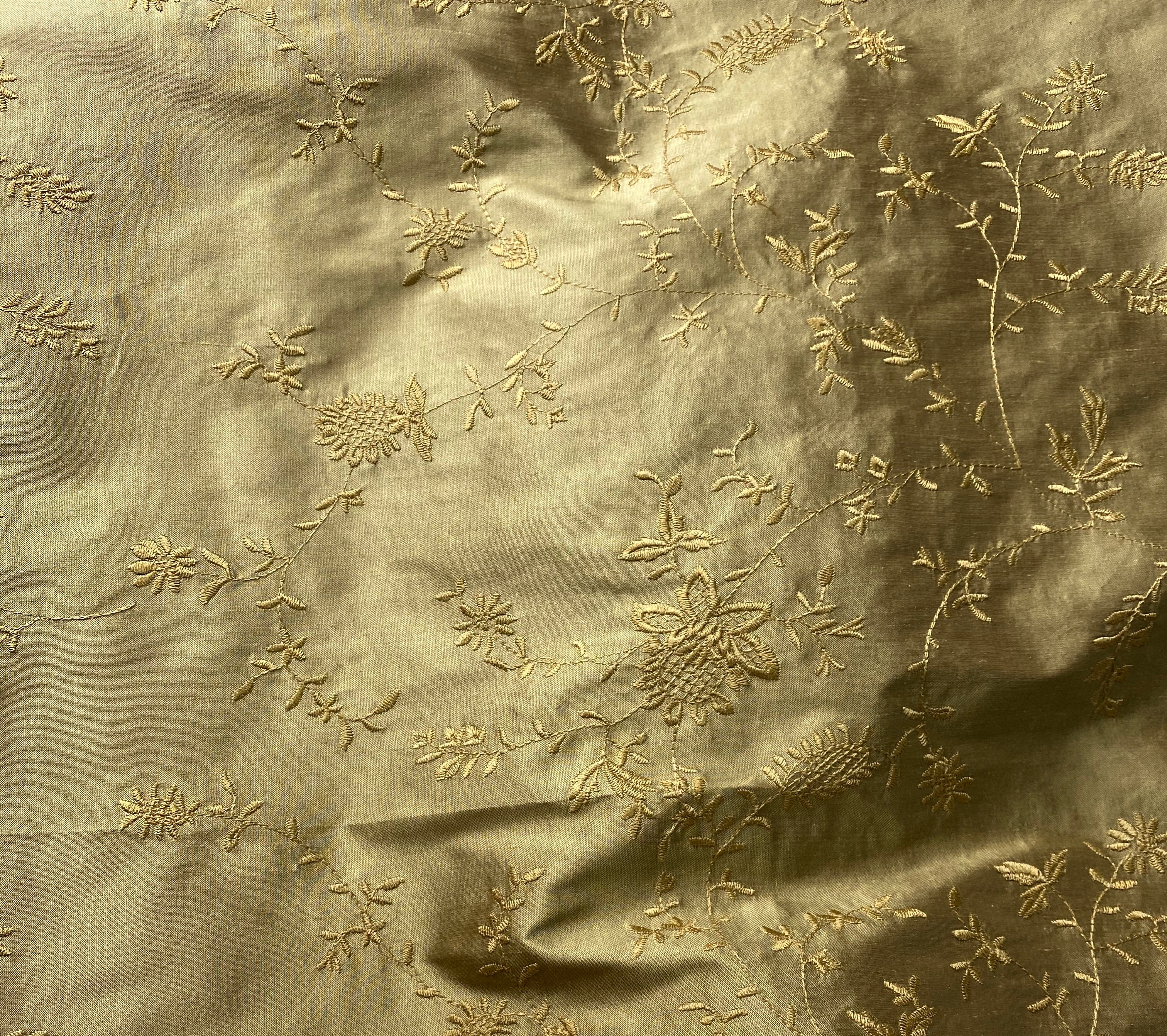 NEW 100% Silk Dupioni Embroidered Floral Fabric - Gold