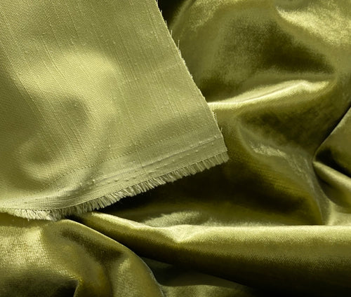 NEW Designer Made In Belgium Upholstery Velvet Fabric- Green Yellow