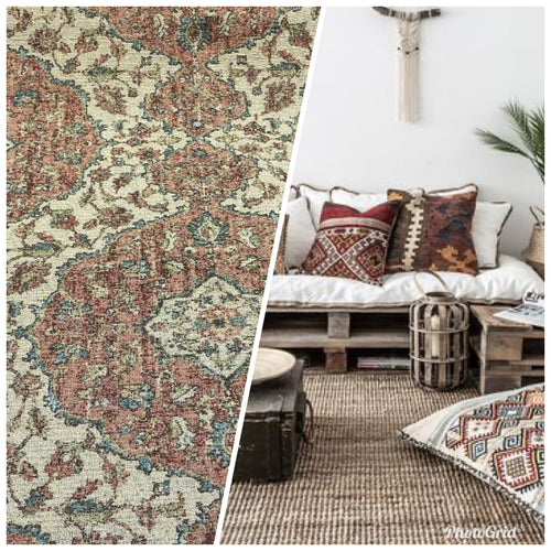 Designer Kilim Rug Inspired Upholstery Chenille Fabric- Muted Tones
