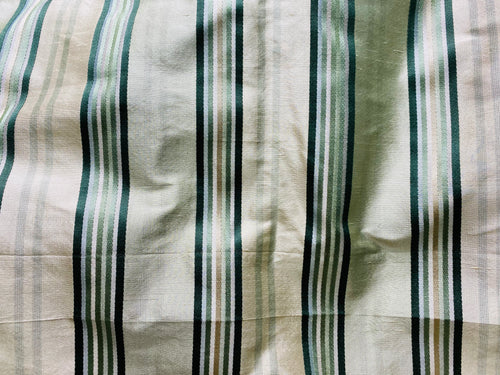 NEW 100% Silk Dupioni Fabric - Cream White with Emerald Green Stripes