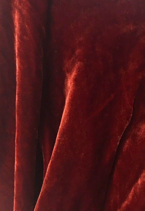 Close-Out Designer Silk Rayon Velvet - Cabernet Red