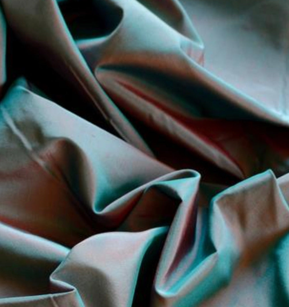 NEW Lady Lisa Designer 100% Silk Taffeta - Teal with Peach Iridescence