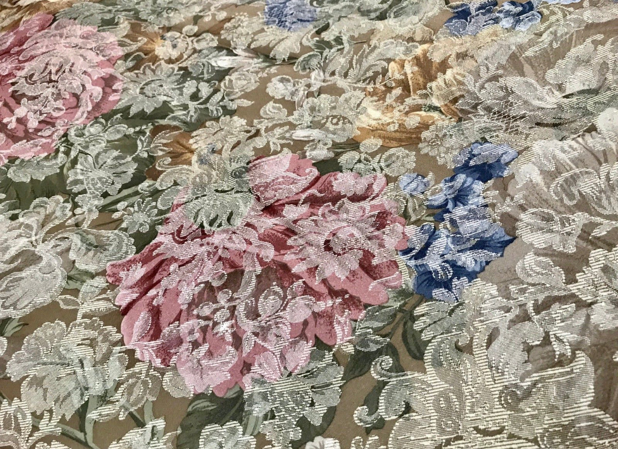 NEW Designer Decorating Drapery Fabric - French Green Floral Brocade Print