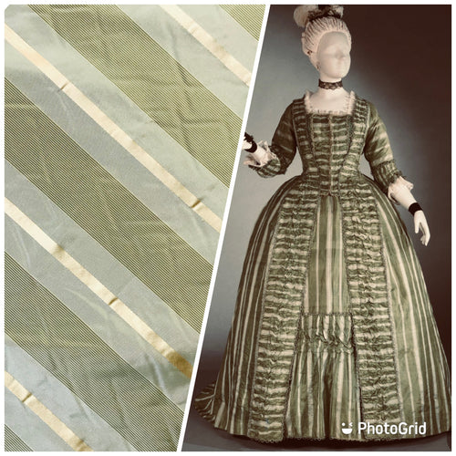 "NEW Designer 100% Silk Taffeta Stripes Fabric - Olive Green & Gold55"" Wide"