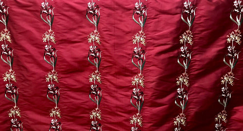 NEW Designer 100% Silk Dupioni Embroidered Floral Rows Fabric- Dark Red Iridescent