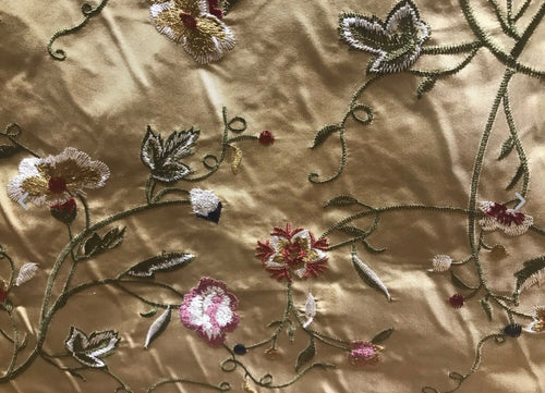 NEW! BACK IN STOCK! SALE! Designer 100% Silk Taffeta Embroidered Floral Fabric - Gold