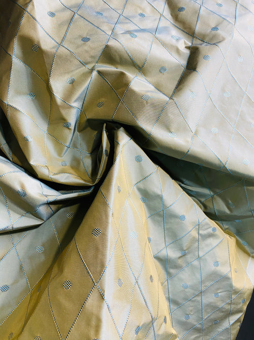 NEW 100% Silk Duck Egg Blue Embroidered Diamond Motif Taffeta Fabric with Peach Iridescent