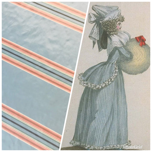 "NEW Designer 100% Silk Taffeta Stripes Fabric - Blue 55"" Wide"