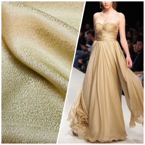 NEW Designer 100% Silk Textured Gold Charmeuse Fabric