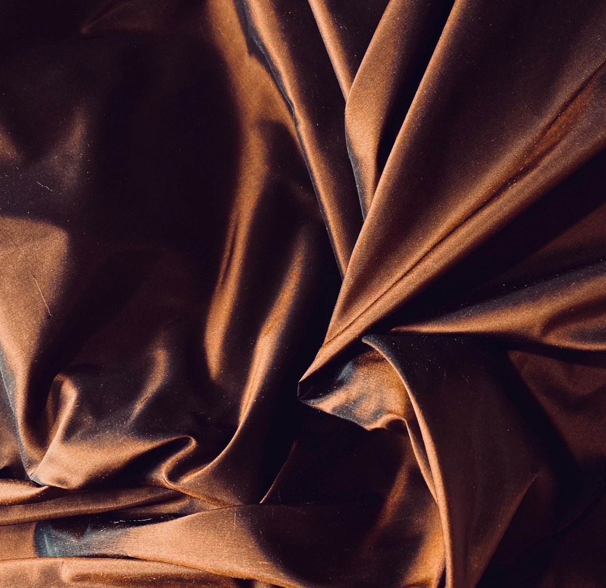 NEW Designer 100% Silk Taffeta Fabric in Copper with Black Iridescence