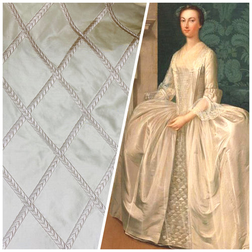 NEW Designer 100% Silk Taffeta Fabric - Ivory White Diamond Motif