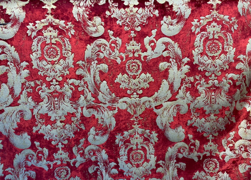 NEW! Designer Burnout Antique Inspired Velvet Fabric Red & Gold