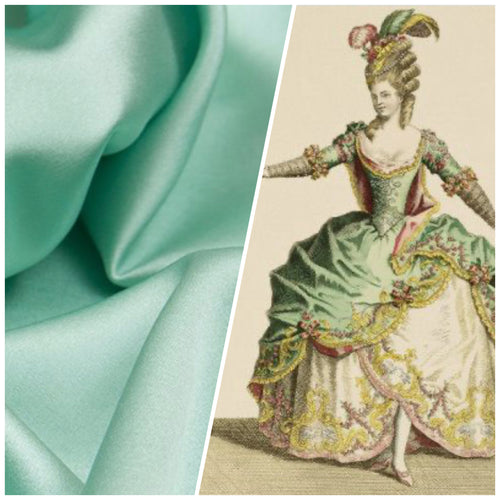 NEW Designer Solid Sea Foam & Pistachio Double Sided Satin Fabric
