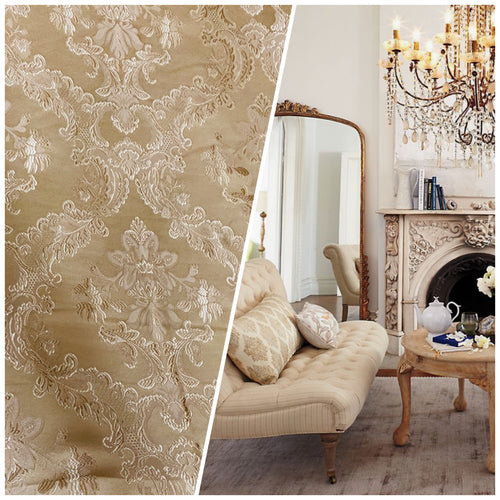 NEW Designer Damask Satin Fabric- Gold - Upholstery Brocade
