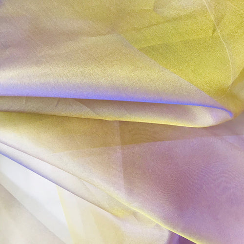NEW 100% Silk Organza Jewel Purple & Yellow Iridescence