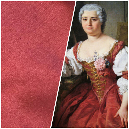 NEW Duchess Mable 100% Silk Dupioni - Solid Muted Red Fabric