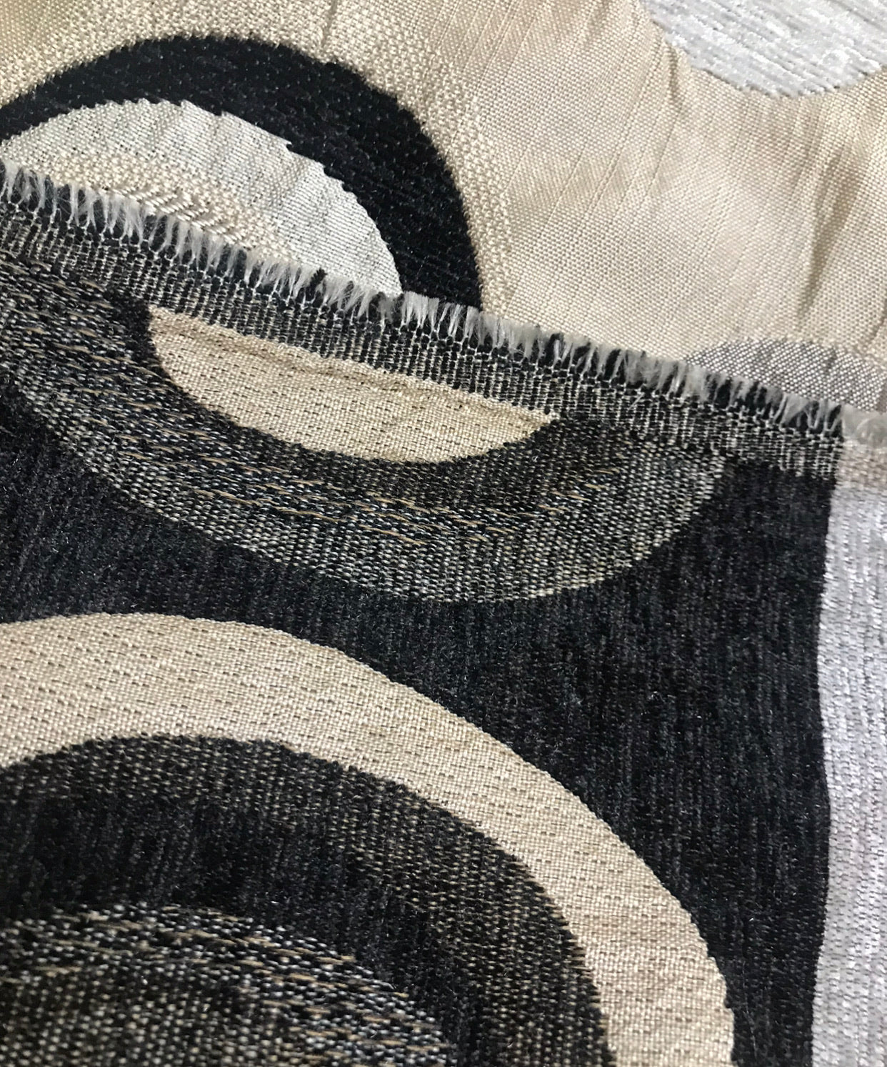 SALE! NEW Designer Burnout Chenille Upholstery Geometric Fabric - Taupe Black Ivory BTY