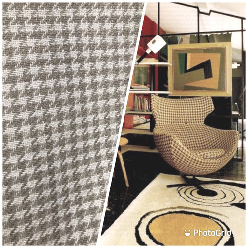 NEW Designer Upholstery Houndstooth Pattern Fabric - Cream & Beige