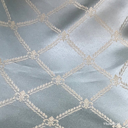 SWATCH Designer Brocade Satin Fabric- Antique Silver Blue Rope Design Upholstery - Fancy Styles Fabric Boutique