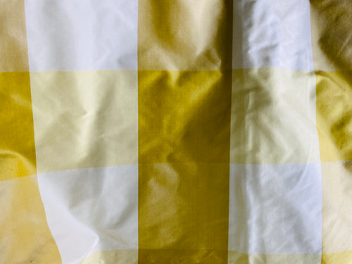 NEW Lady Emma Designer 100% Silk Taffeta Checkered Fabric- Yellow By The Yard