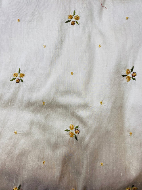 1 Yard Remnant- Queen Jane- Beaded 100% Silk Dupioni Fabric - Beige Cream