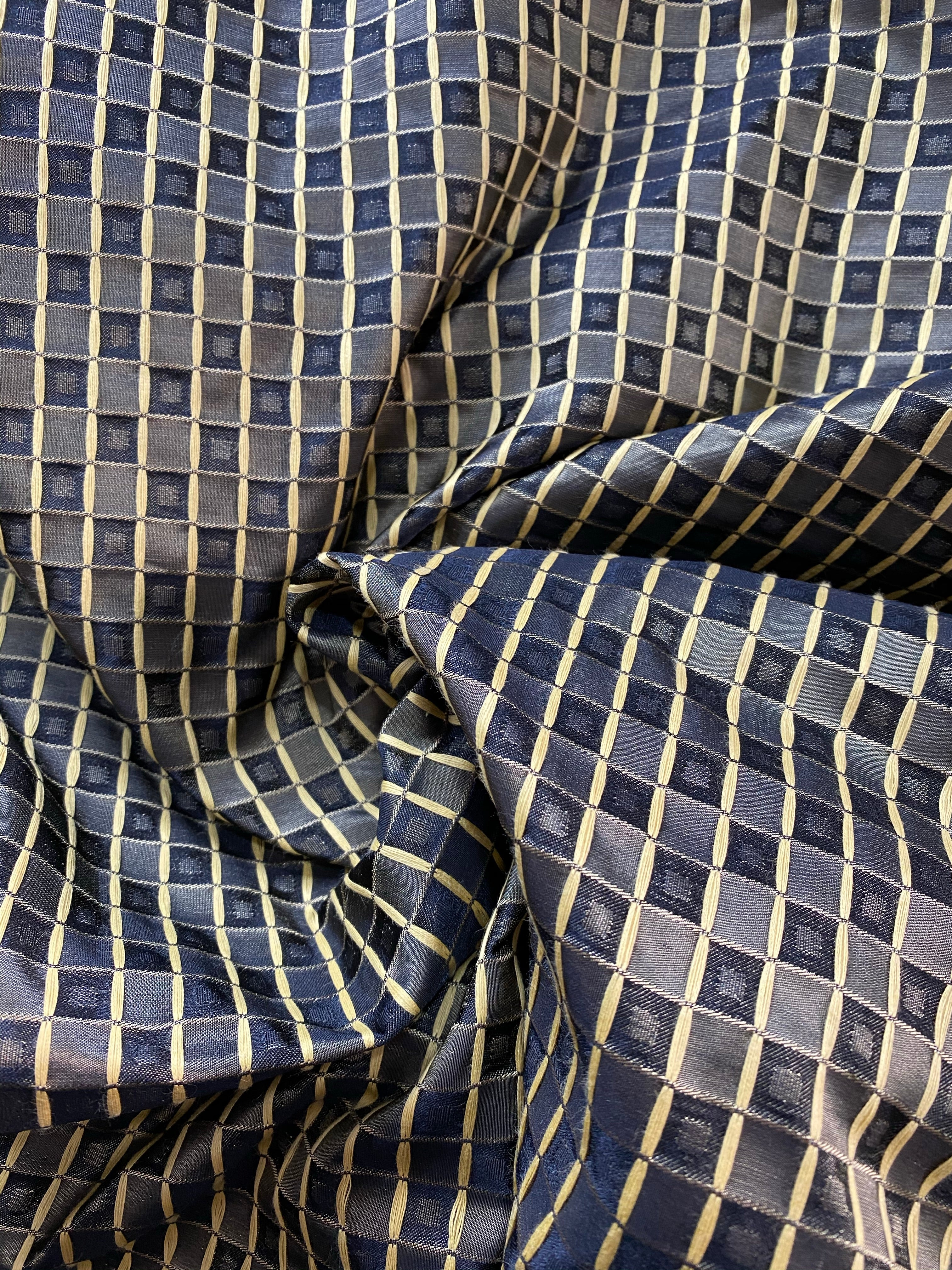 NEW Queen Angelina- 100% Silk Fabric with Black and Gold Honeycomb Motif