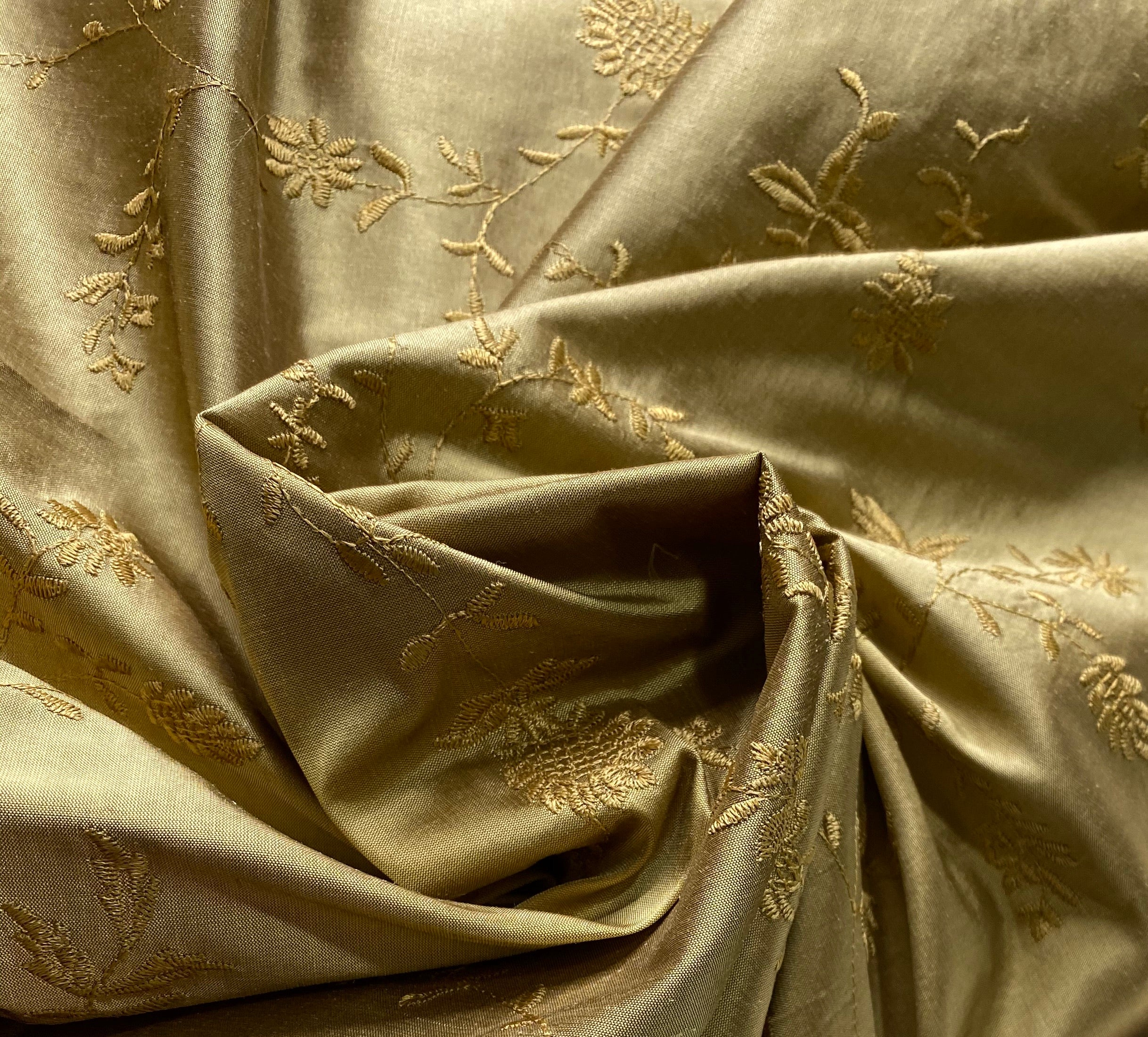 NEW Lady Aster 100% Silk Dupioni Embroidered Floral Fabric - Gold
