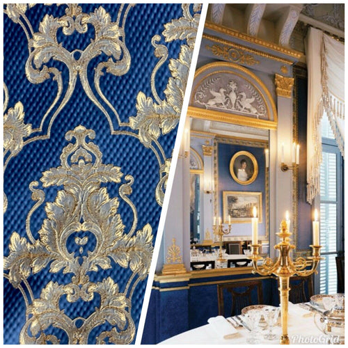 NEW Designer Brocade Upholstery & Drapery Satin Damask Fabric - Jewel Blue