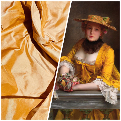 1 Yard Remnant- Lady Lisa Designer 100% Silk Taffeta Fabric - Icy Pumpkin Yellow