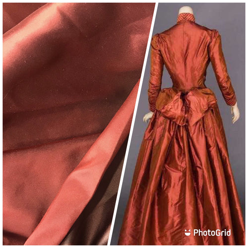 New Countess Savannah Designer 100% Silk Satin Double Faced Fabric - Solid Cinnamon Red & Chocolate Brown