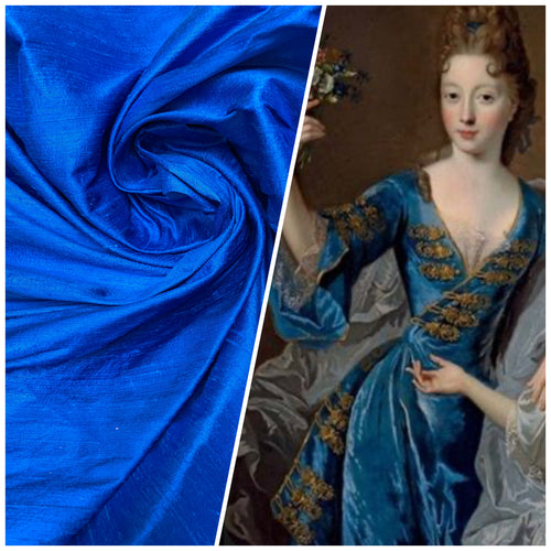 NEW Duchess Mable Designer 100% Silk Dupioni - Solid Blue Fabric