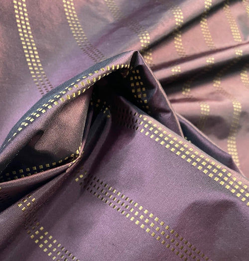 Designer NEW 100% Silk Taffeta with Purple Gold Dot Stripes