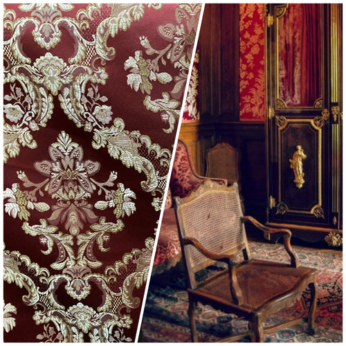 NEW Designer Brocade Satin Damask Fabric- Red & Gold- Upholstery & Drapery