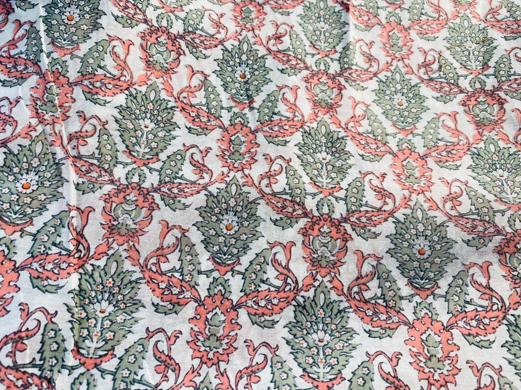 NEW Silk Cotton Blend Coral Ivory & Gray Floral Fabric