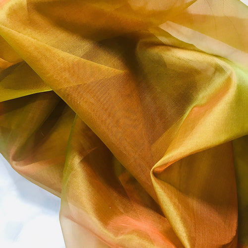 NEW 100% Silk Organza Jewel Orange & Green Iridescence