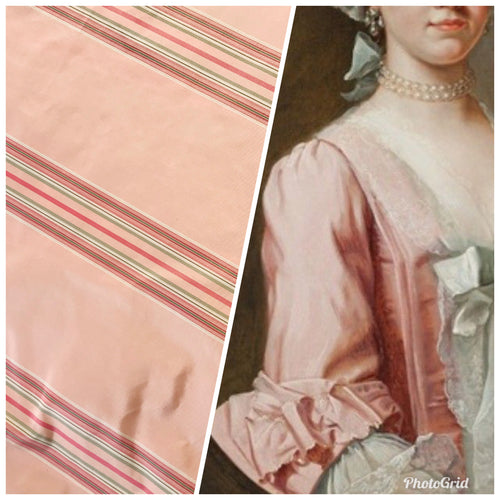 "NEW Designer 100% Silk Taffeta Stripes Fabric - Pink 55"" Wide"