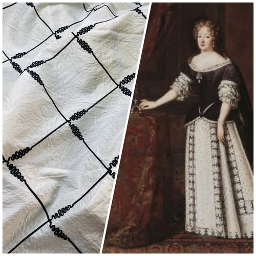 NEW! Queen Victoria - White Synthetic Silk Fabric with Black Diamond Trim Motif
