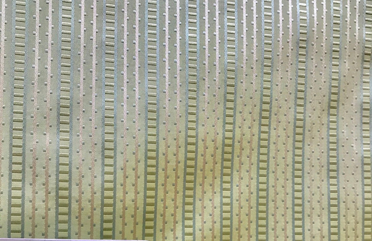 NEW! Designer 100% Silk Taffeta Striped Fabric - Green GFSAG0005