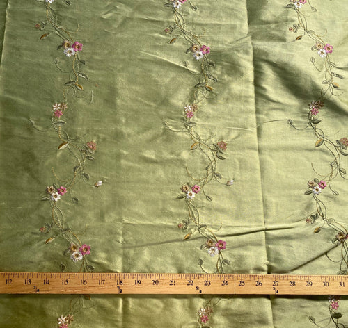 NEW Duchess Rowena Designer 100% Silk Dupioni - Pistachio Green with Floral Embroidery Vines