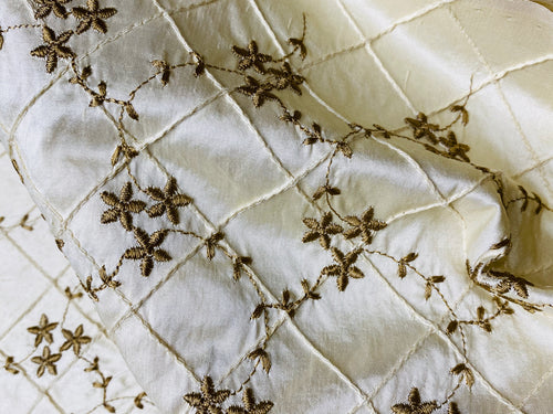 NEW! 100% Silk Dupioni Embroidered Quilted Floral Fabric- Ivory