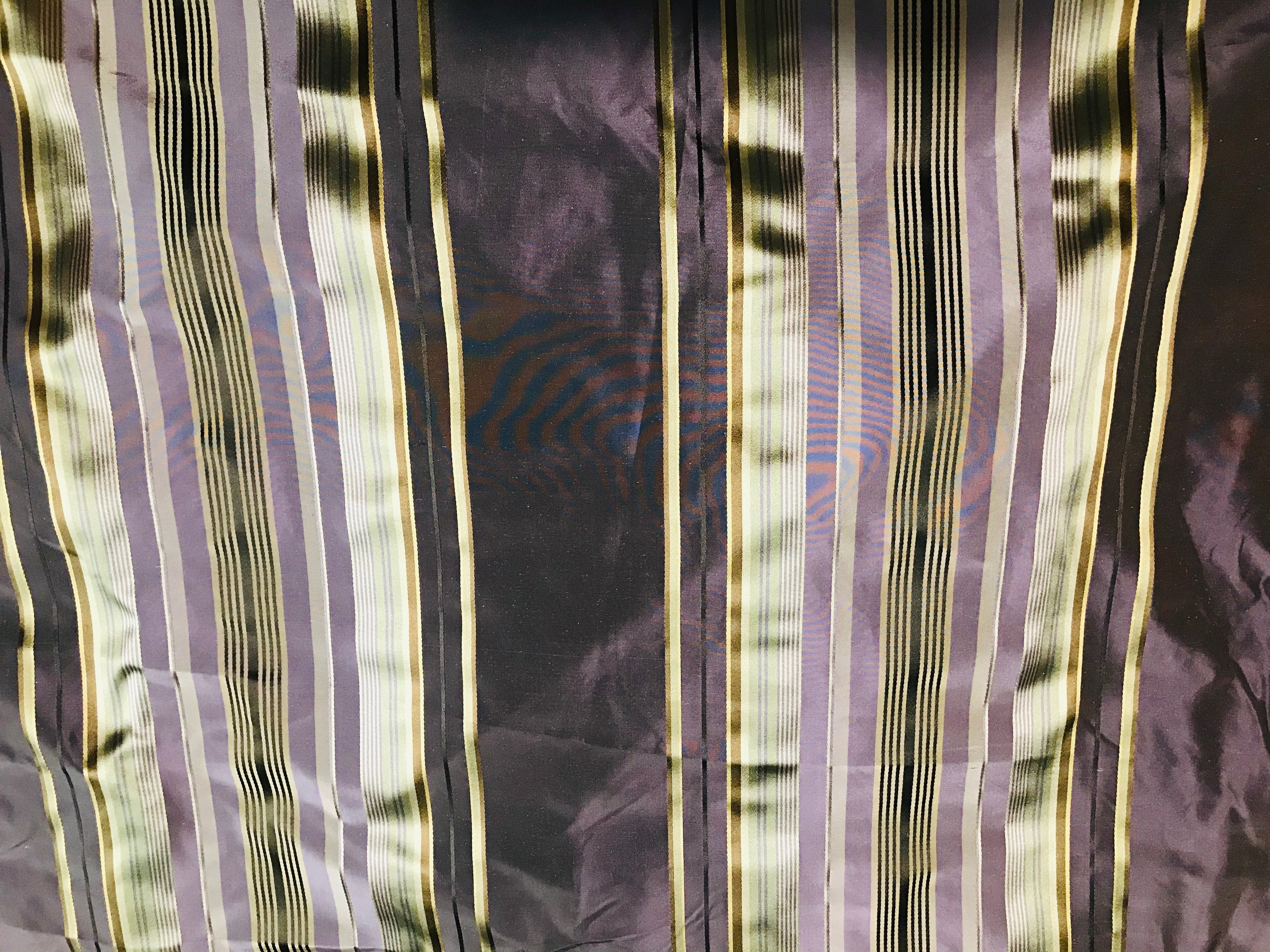 "NEW Designer 100% Silk Taffeta Dupioni Stripes Fabric - Purple Gold 55"" Wide"