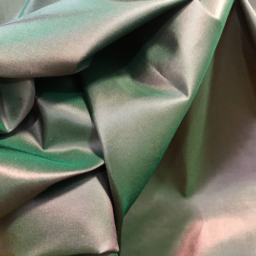NEW Lady Lisa Designer 100% Silk Taffeta - Solid Green with Pink Iridescence