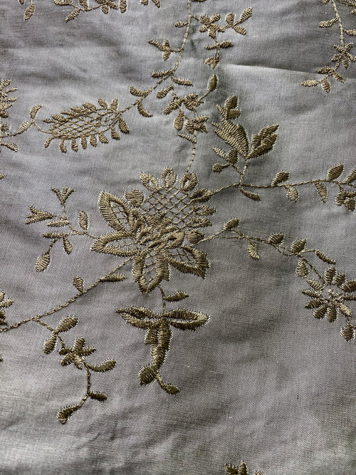 NEW Lady Aster Silk Dupioni Gold Embroidered Floral Fabric - Pewter Grey Gold