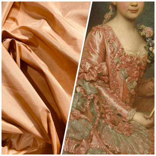 NEW Lady Lisa Designer 100% Silk Taffeta Fabric -Solid Salmon Peach