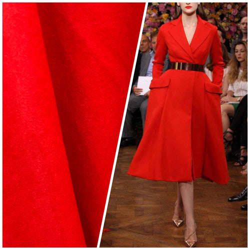 "NEW! Designer 100% Cashmere Woven Coat Fabric - Made In Italy- Red- 58"" Wide"