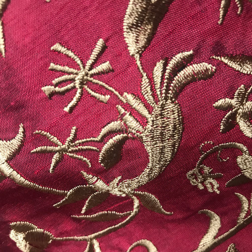 Designer 100% Silk Taffeta Dupioni Embroidery Floral Fabric - Red