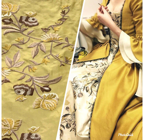 NEW! 100% Silk Dupioni Drapery Yellow Embroidered Floral Fabric- Costume- By The Yard